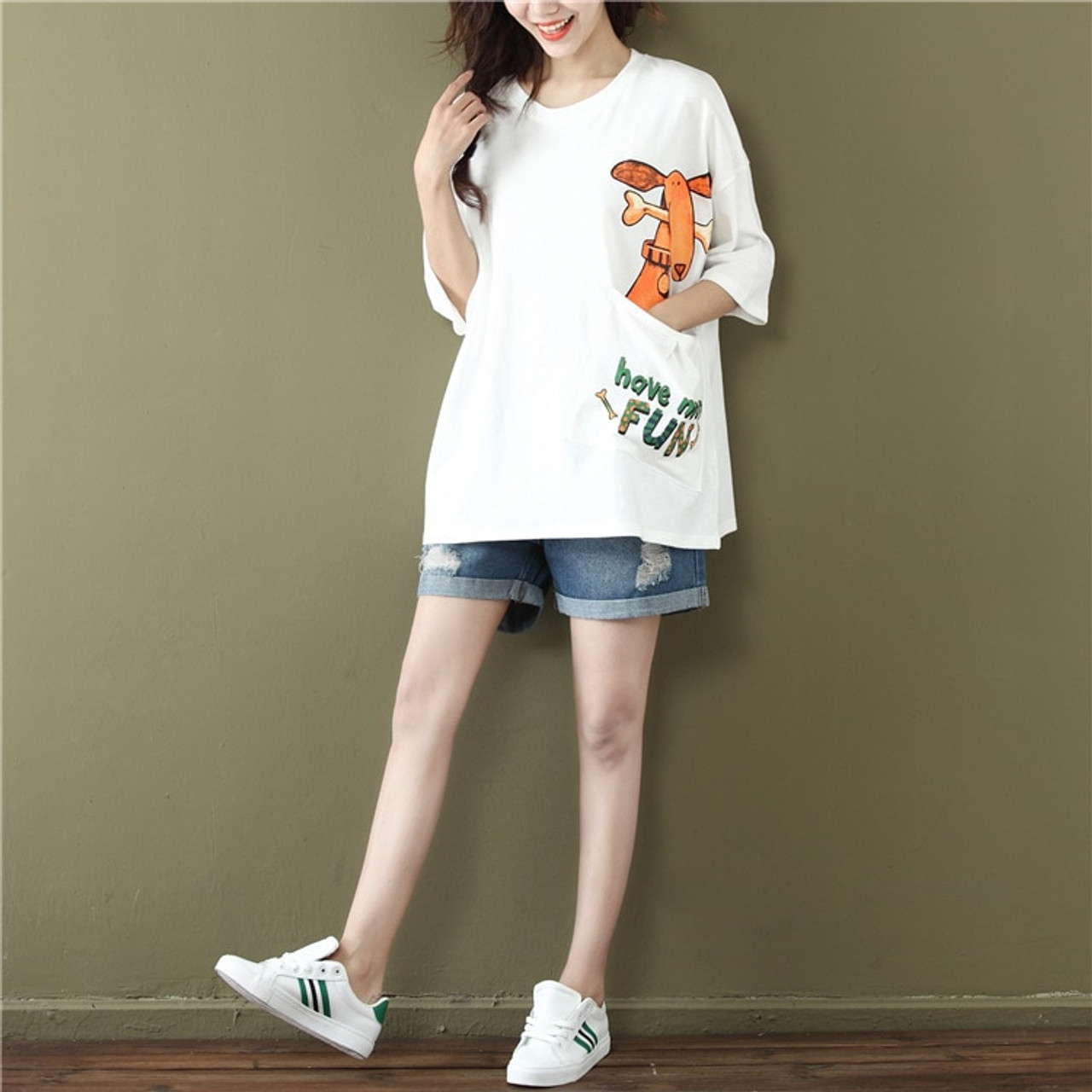 5d7ff680d8 2019 Summer New Arrival Short Sleeved Women T Shirt Plus Size Loose Korean  O Neck Cartoon Print Pocket White And Black Tee Tops
