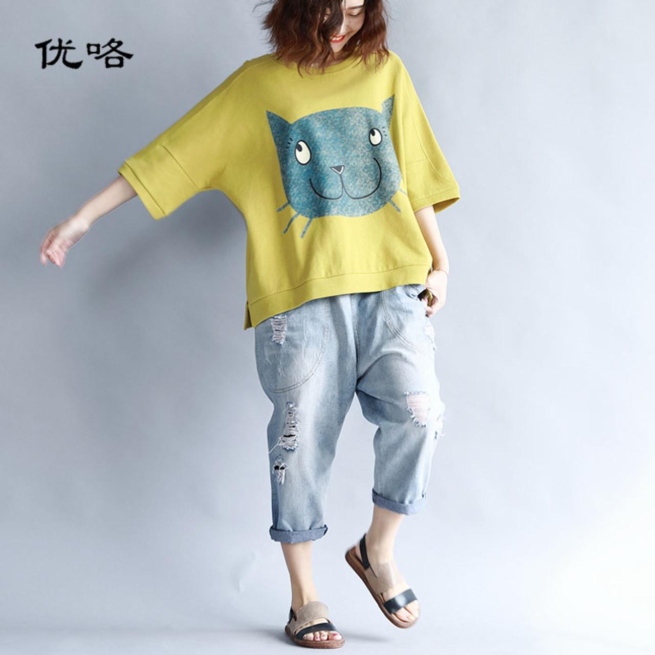 10a88a4640 2019 Summer Women Korean Cotton T Shirt Kawaii Cartoon Cat Print Tshirt  Women Plus Size Casual ...