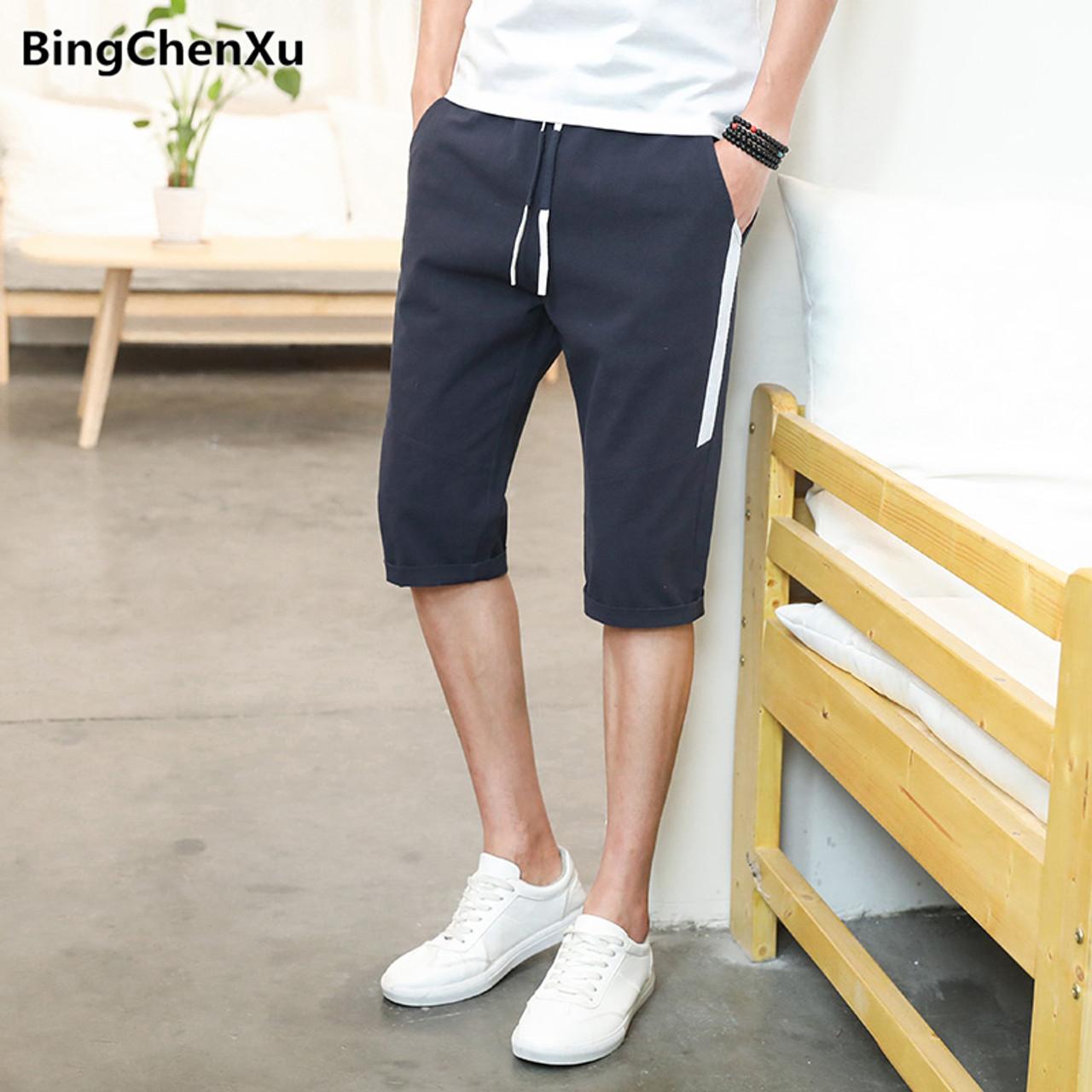 Mens Shorts Summer Board Shorts Elastic Waist Man Short Calf Length Casual Trousers Male Beach Bottoms