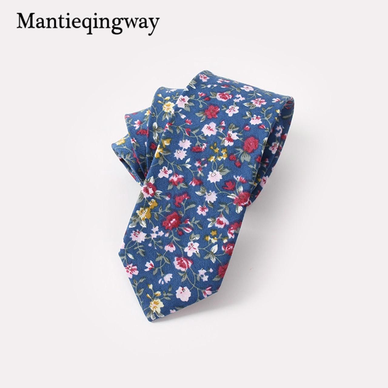New Man Cotton Blue Floral Dot Neck Tie Wedding Party Necktie Narrow Slim Skinny