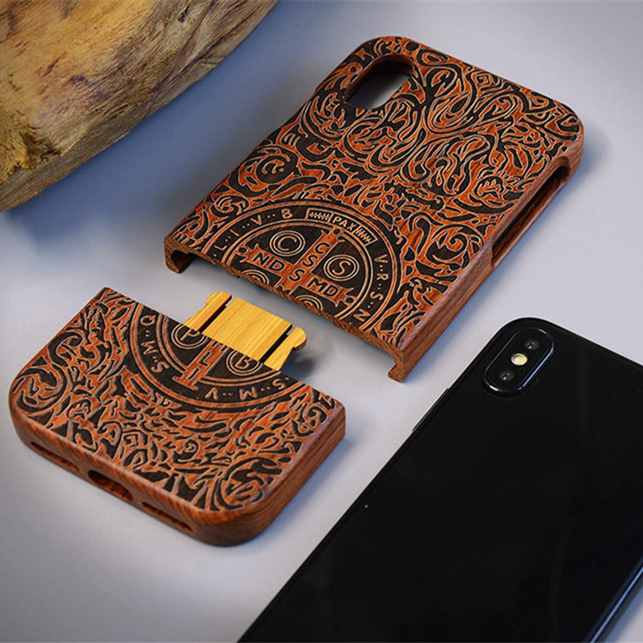 buy online 7dcee 6c72a Carved Tiger Dragon Luxury Wood Phone Case For Apple iPhone X XS Max XR 5  5S SE 6 6plus 6S 7 8 Plus Full Wooden Case Cover