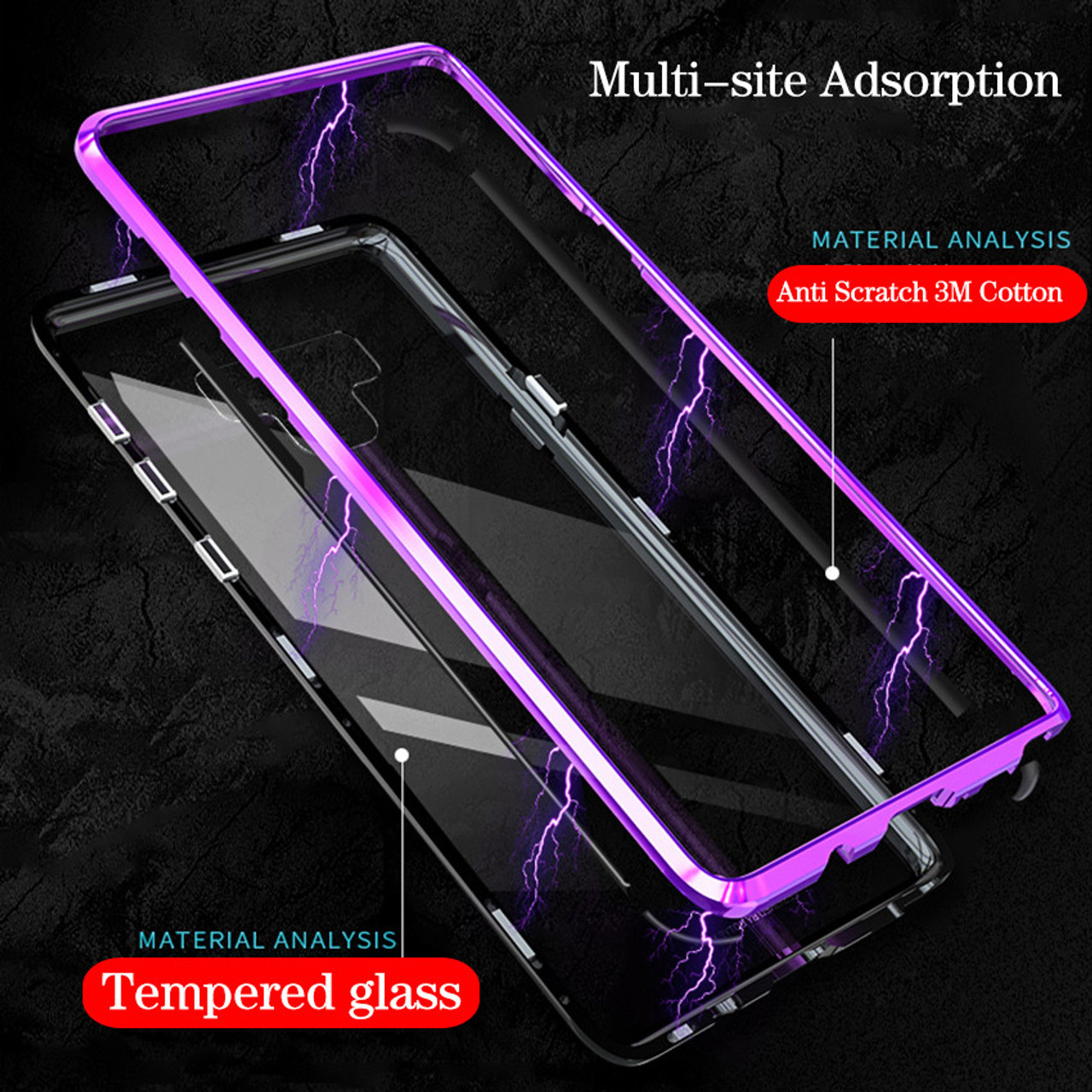 brand new 8cc58 60d28 Anti Shock Magnetic Metal Phone Case for Samsung Galaxy Note 9 8 S10 S9 S8  Plus + Luxury Ultra Magnet Tempered Glass Back Cover