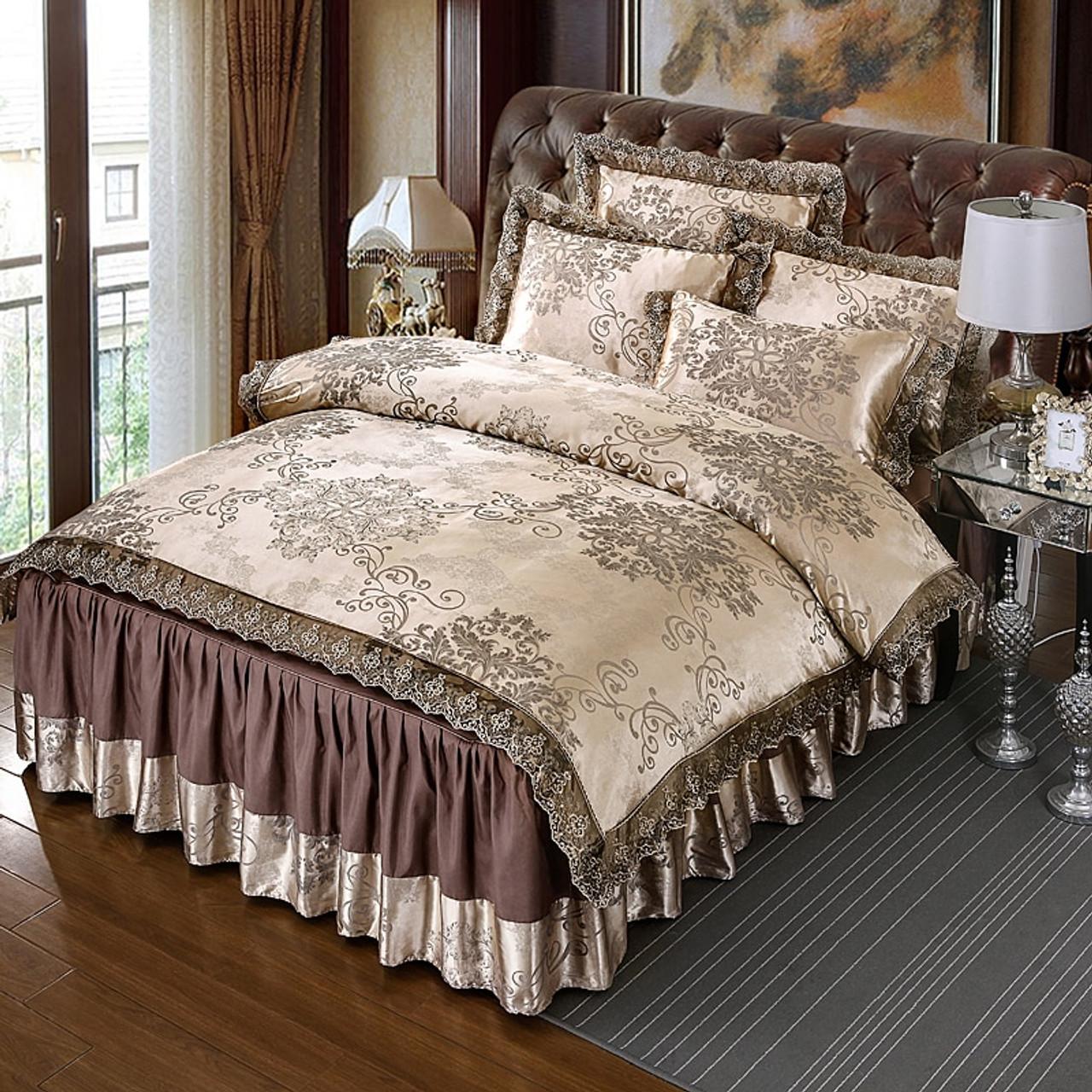 4pcs Satin Jacquard Luxury Lace Bedding Sets Queen King Size Duvet