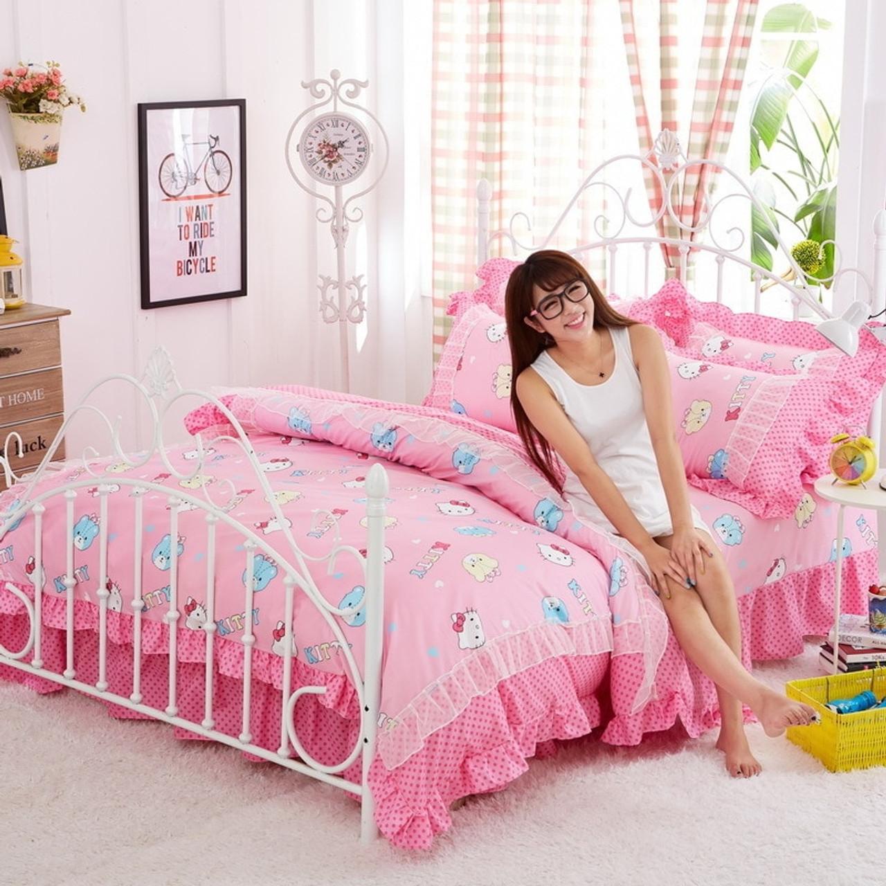 e1dfef61e Korean style pink Bedding Sets Cartoon Hello Kitty 4pcs Bed Set Duvet Cover  Bed Sheet Pillowcase ...