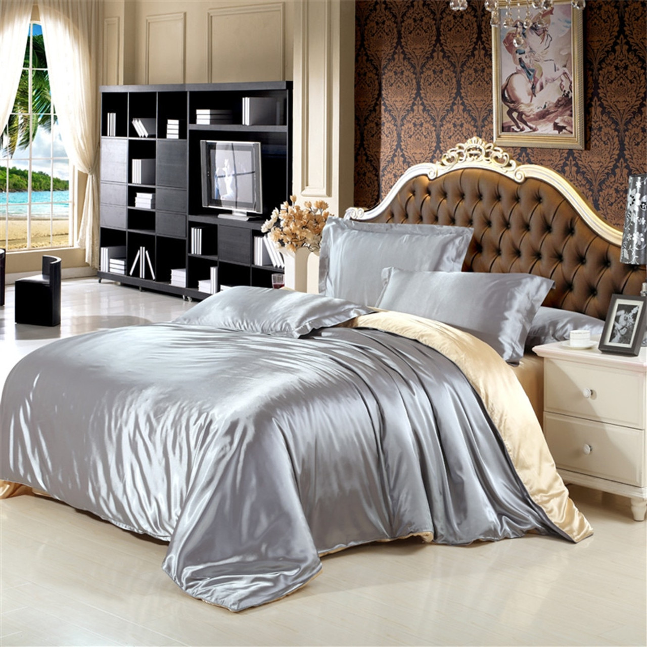 Home Garden Sheets King Size 4 Pcs Satin Silk Bedding Set Duvet Cover Fitted Sheet Pillow Cases Dailystyles De