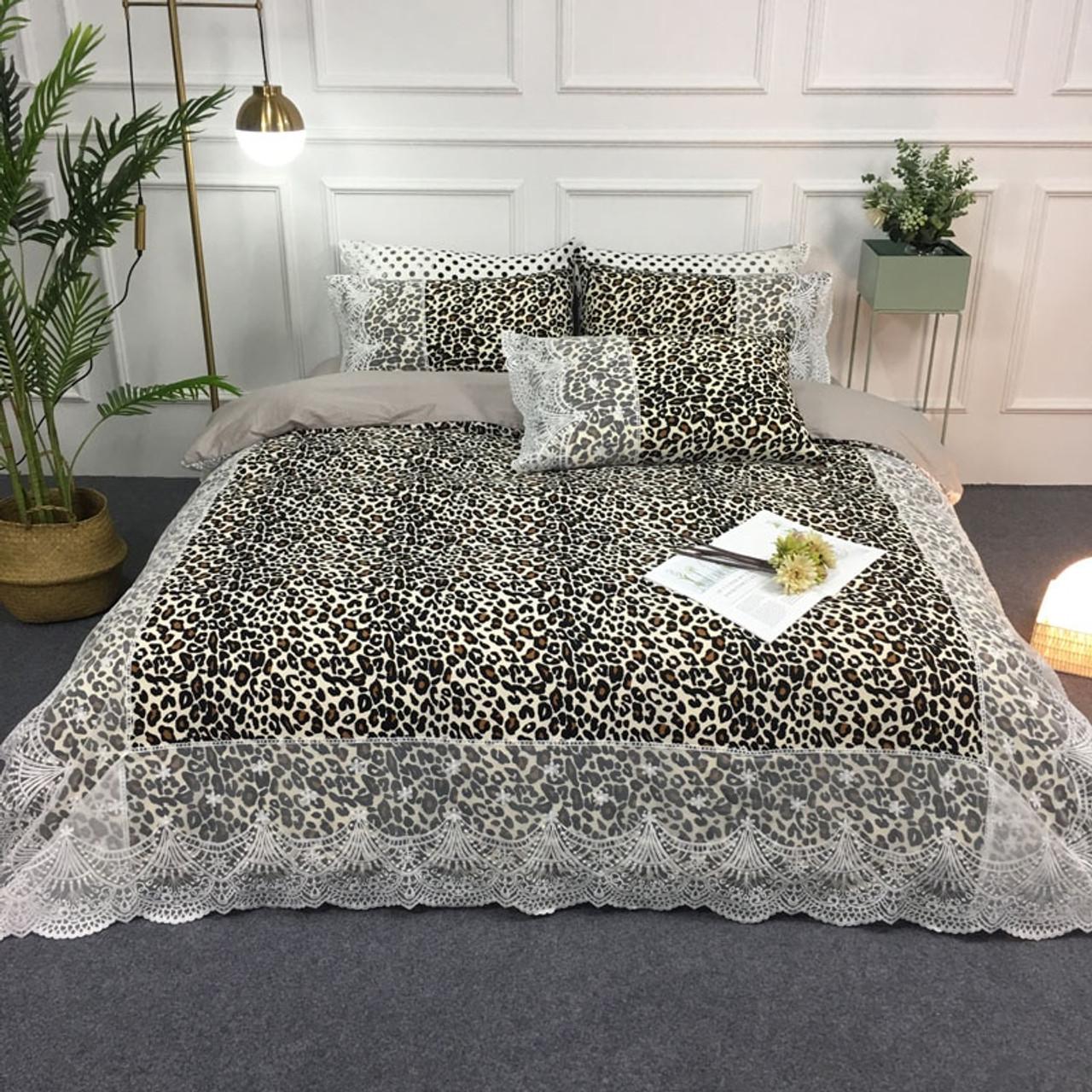 Satin Cotton White Lace Duvet Cover Set Queen King Size 4pcs Black Gray Dot Circle Leopard Bedding Set Bed Sheet Pillow Shams Onshopdeals Com