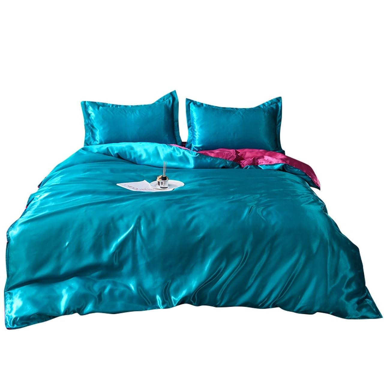 King Size 4 Pcs Satin Silk Bedding Set Duvet Cover Fitted Sheet /& 2 Pillow Cases