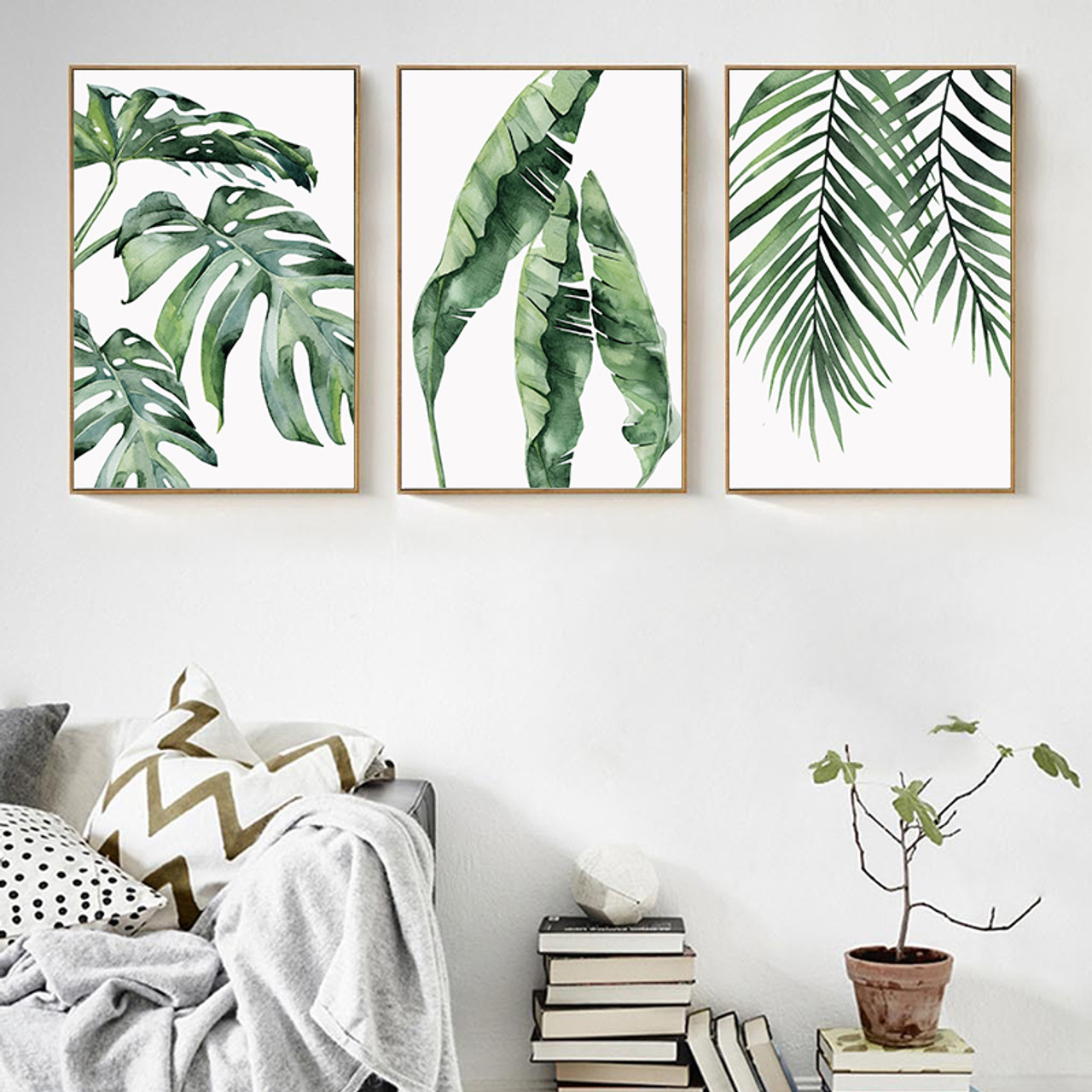 Watercolor Plant Green Leaves Canvas Painting Art Print Poster Picture Wall Modern Minimalist Bedroom Living Room Decoration Onshopdeals Com