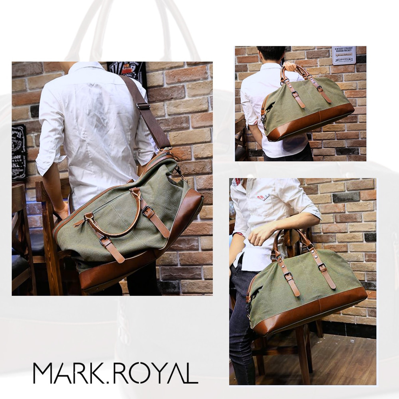 52bec1a34 ... MARKROYAL Canvas Leather Men Travel Bags Carry on Luggage Bags Men  Duffel Bags Handbag Travel Tote ...