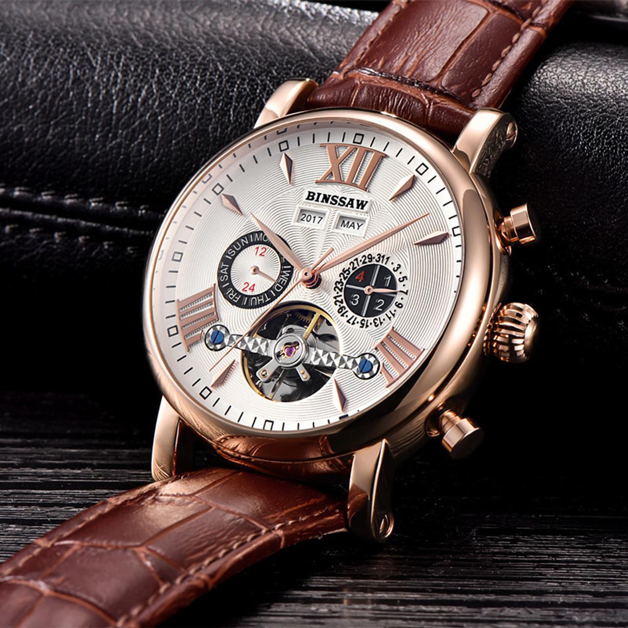 acdb7c485 ... BINSSAW Men Tourbillon Automatic Mechanical Watch Luxury Fashion Casual  Brand Leather Man Week Gold Watches relogio ...