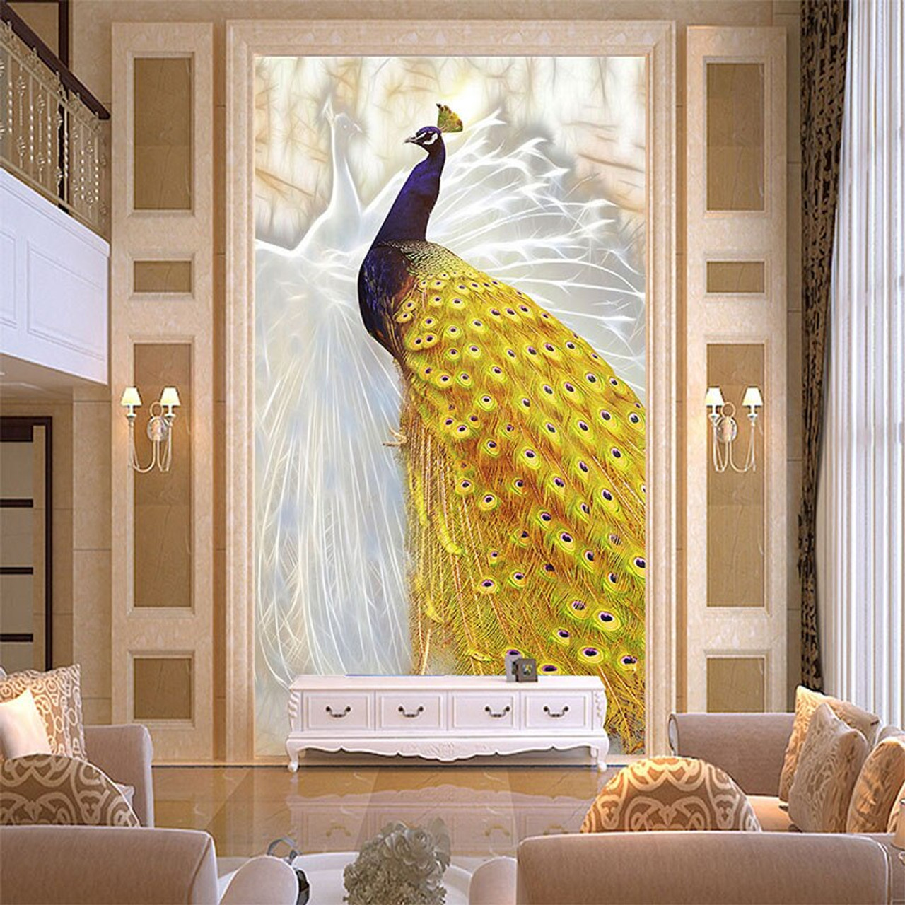 Custom Photo Wallpaper European Style Gold Peacock Mural Chinese Style Living Room Entrance Corridor Home Decor 3d Wall Painting Onshopdeals Com