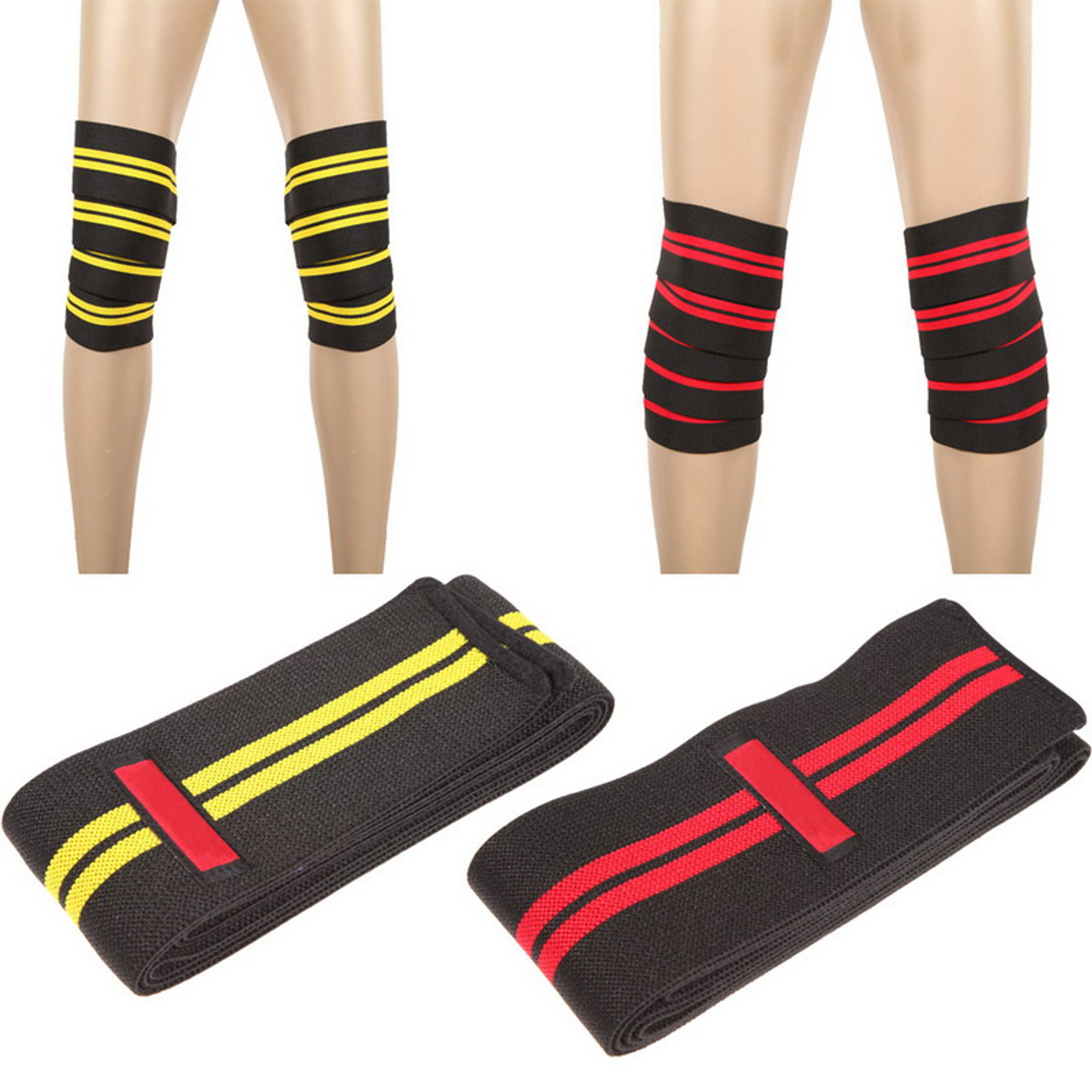 2df95cb877 Aolikes Knee Ankle Support Power Lifter Weight Lifting Knee Wraps Gym  Training Fist Straps Sports Bandage ...