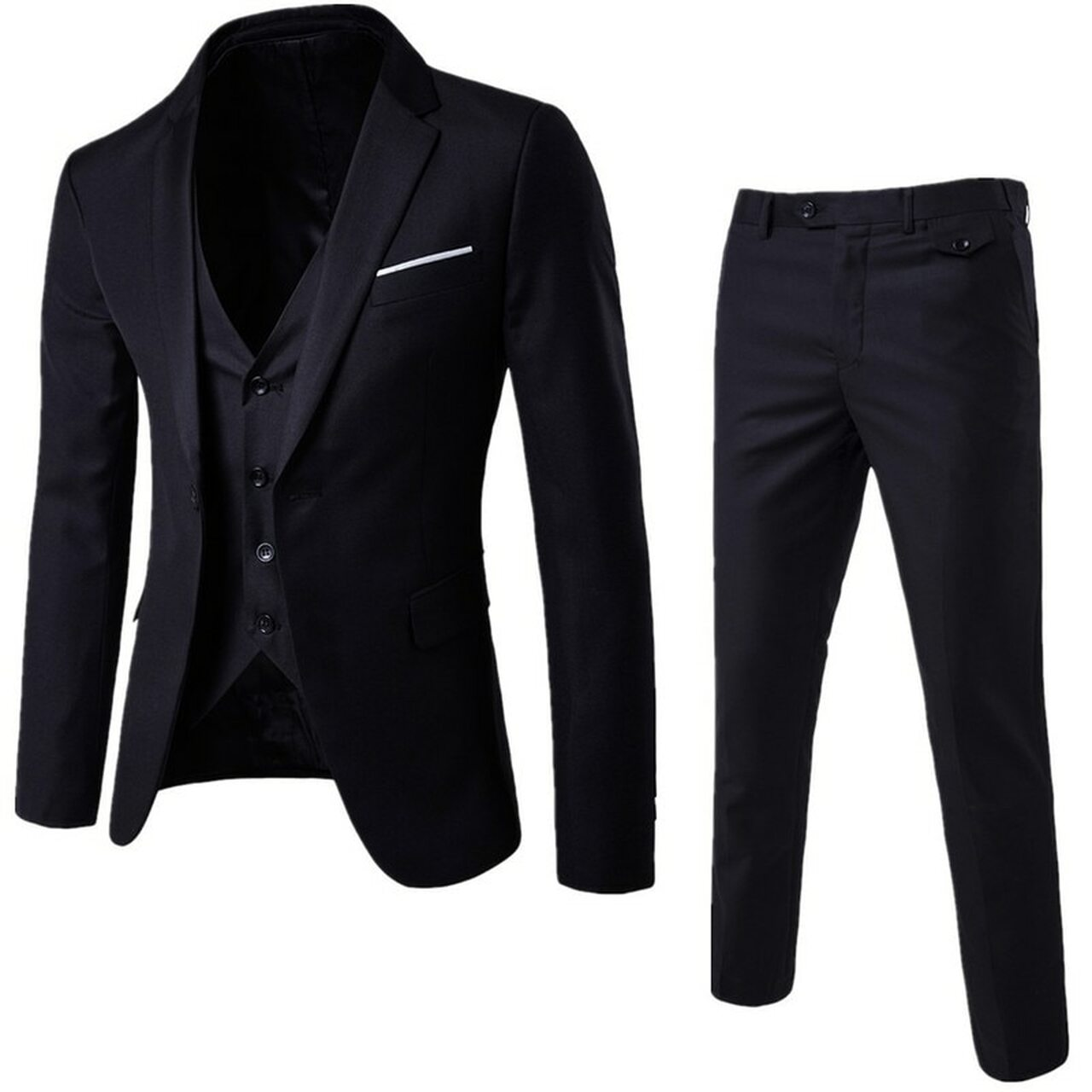 Jacket Pant Vest Luxury Men Wedding Suit Male Blazers Slim Fit Suits For Men Costume Business Formal Party Blue Classic Black
