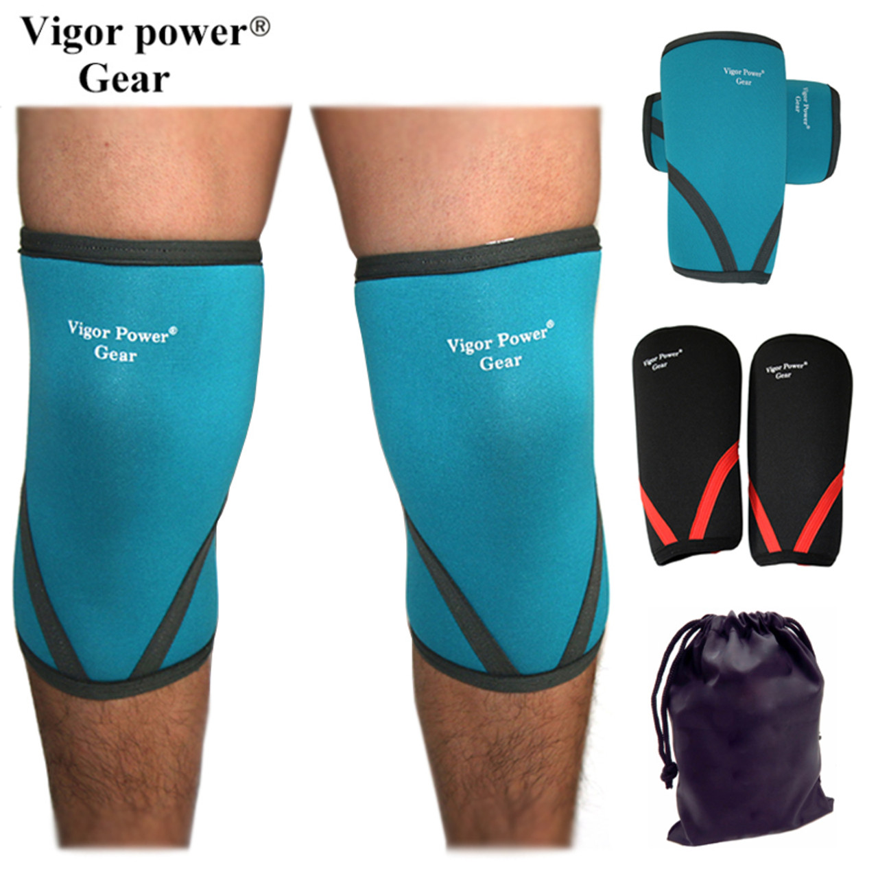 Xeno Knee Sleeve Power Lifting Weightlifting Patella Support Brace Protector Red