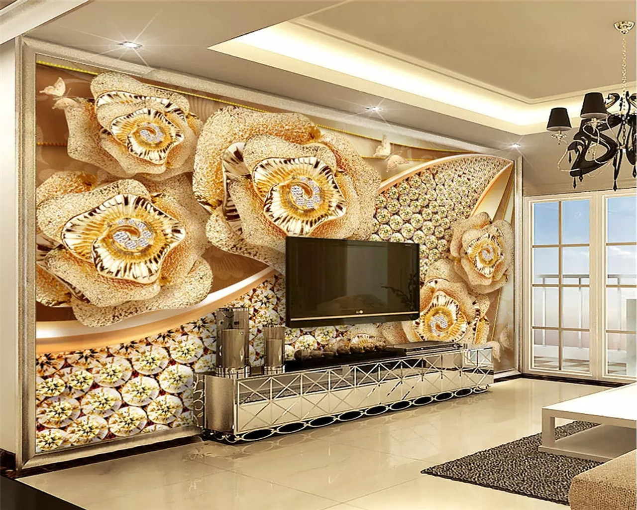 Beibehang Custom Mural 3d Wallpaper For Bedroom Walls 3D Luxury Floral jewelry Background Wall Paper Home  91844.1567750259