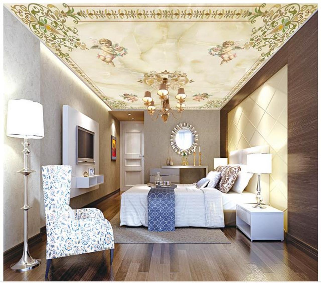 Custom 3d wallpaper 3d ceiling murals wallpaper European angel frescoes on the ceiling suspended ceiling bedroom  32068.1567751241