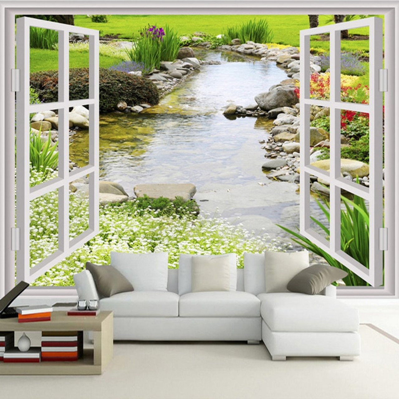 Custom Wall Mural Wallpaper Modern Simple 3d Window Garden Small
