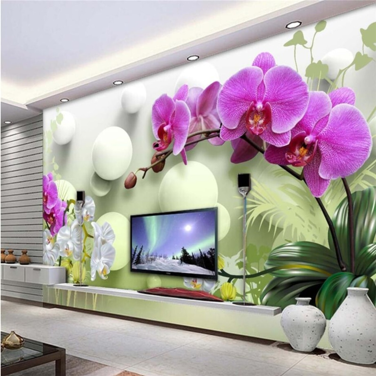 beibehang Wall paper 3d mural custom living room bedroom home decor HD  Phalaenopsis 3D Wallpaper Tv Background Wall