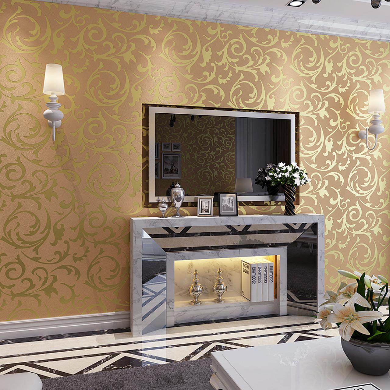 Gold Wallpapers 3d Wall Murals European Non Woven Wall Paper Flower Bedroom Wallpaper For Wallsgrey Papel De Parede Para Quarto
