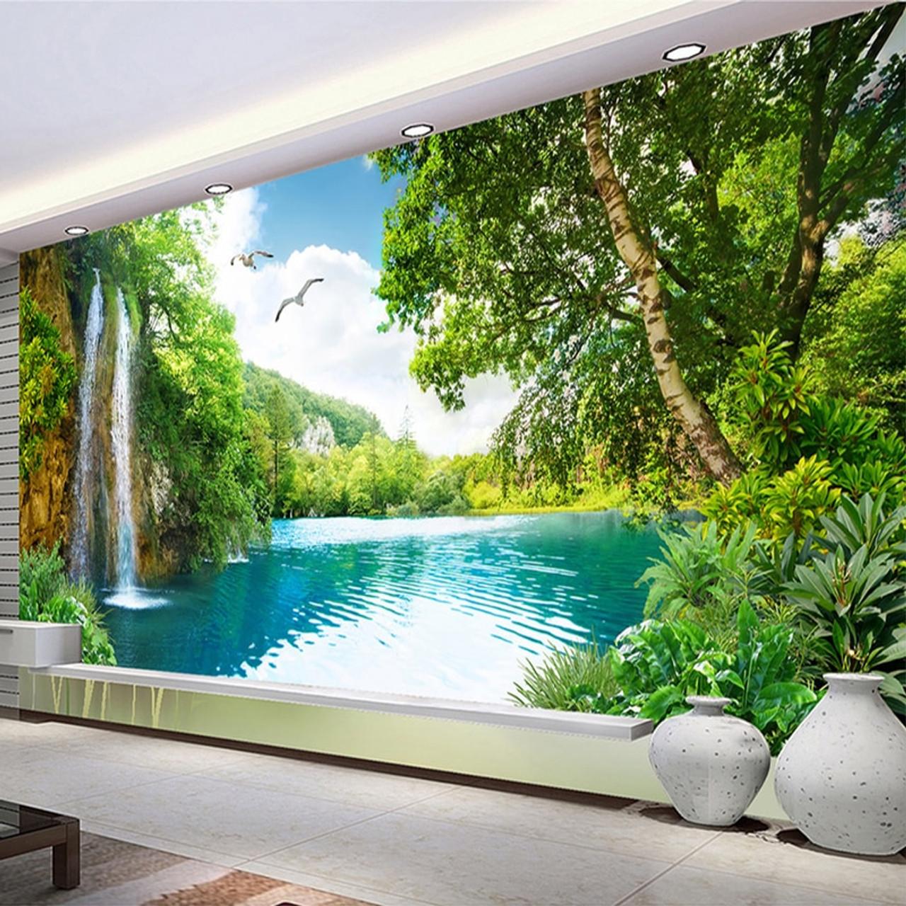 Custom 3D Wall Mural Wallpaper Home Decor Green Mountain Waterfall Nature Landscape 3D Photo Wall Paper  04493.1567751432