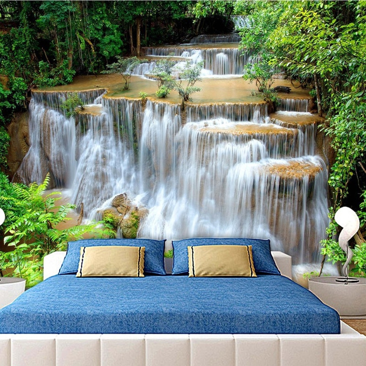 Custom 3d Photo Wallpaper Hd Green Landscape Waterfall Beautiful Tv Background Mural Bedroom Living Room Non Woven 3d Wall Paper Onshopdeals Com