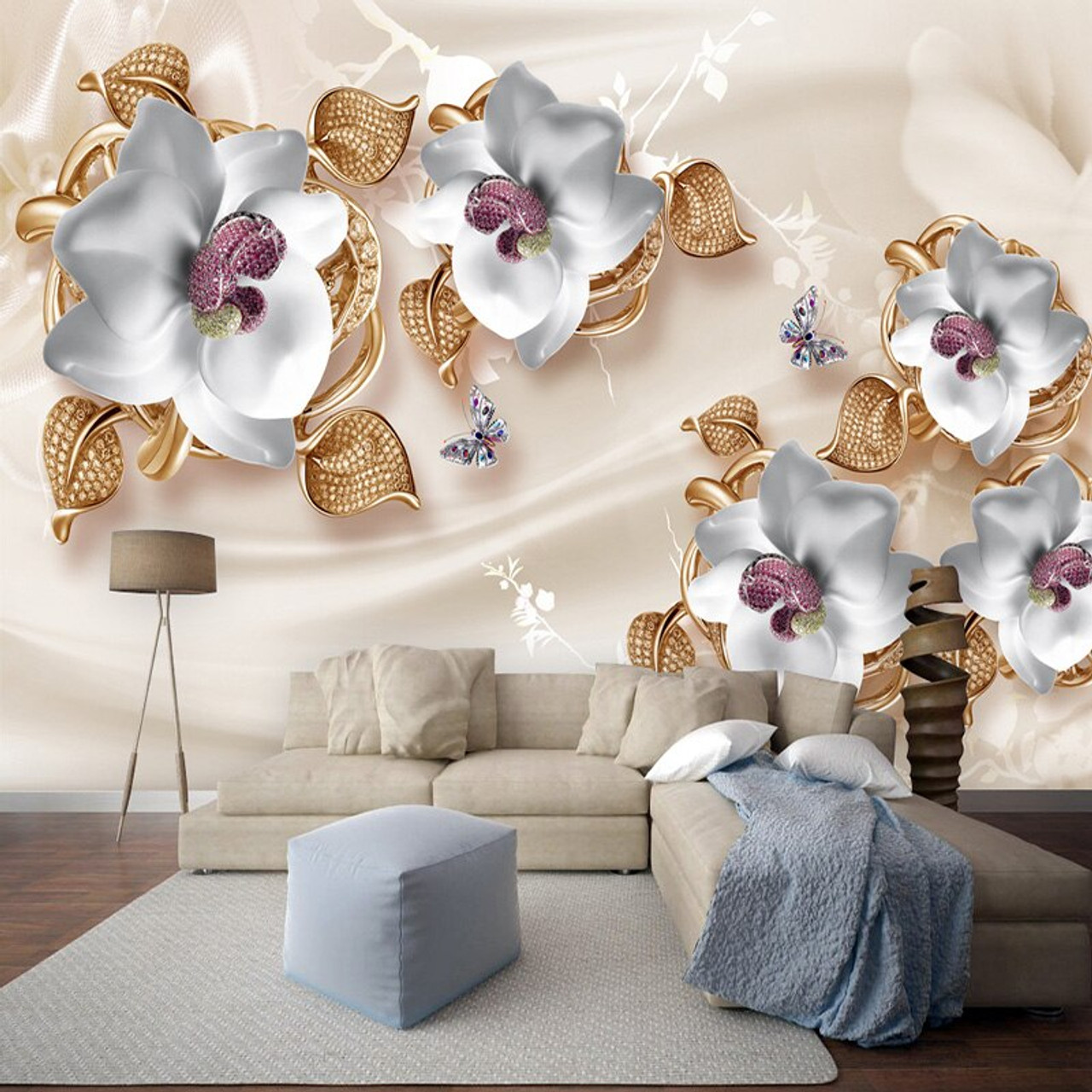 Custom Mural Wallpaper 3d Stereo Flowers Jewelry Photo Wall