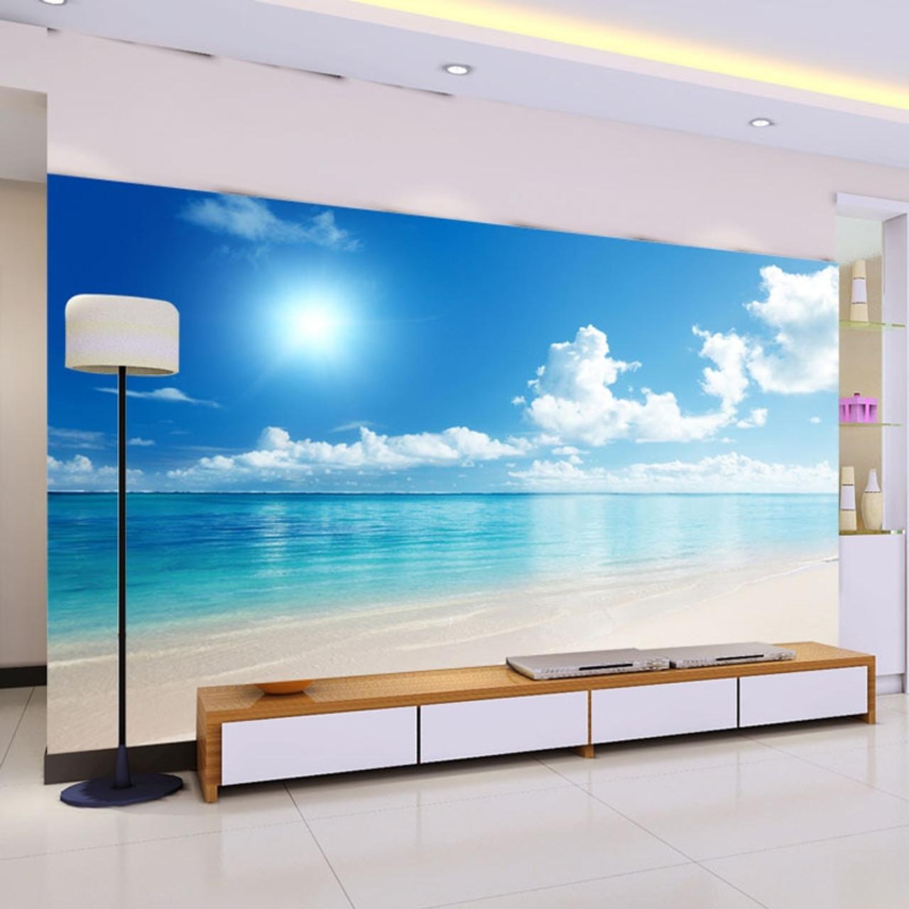 Custom Mural Wallpaper 3d Ocean View Blue Sky And Clouds Beach Living Room Bedroom Wall Covering Wallpaper Papel De Parede 3d
