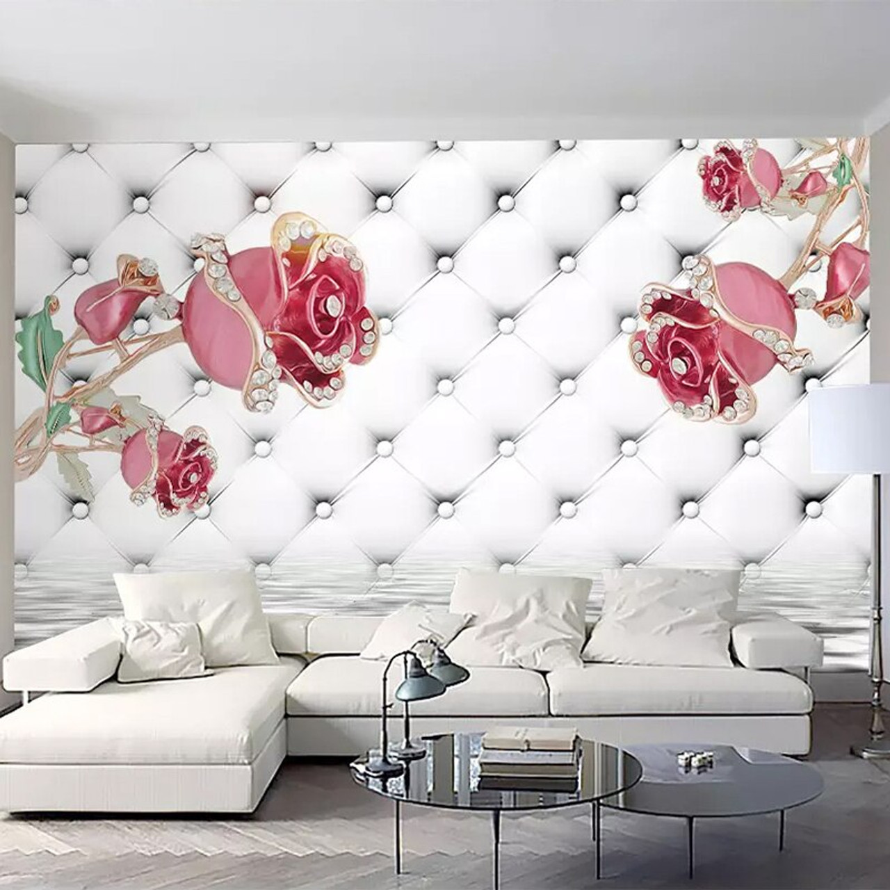 Custom Murals Wallpaper 3d Luxury Pink Roses Soft Roll Photo Wall