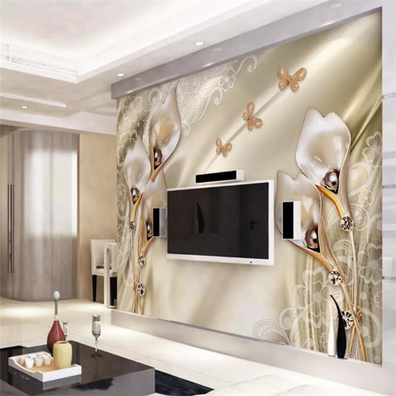 Beibehang 3d Wallpaper Murals Custom Living Room Bedroom Luxury Satin Champagne Tulip Mural Background Wall Home Decoration Onshopdeals Com