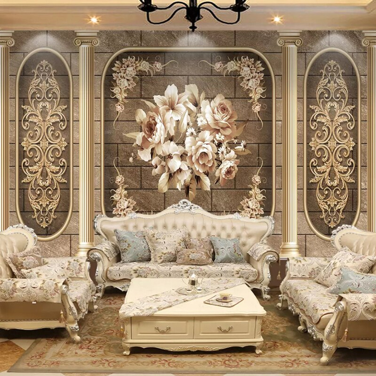 Custom Photo Wallpaper European Style Luxury Classic Flowers Mural Living  Room Bedroom Home Decor Art Wall Papers For Walls 3 D