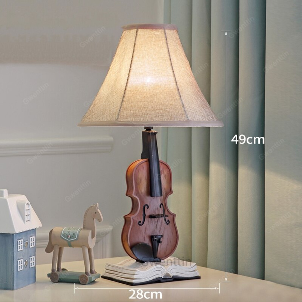 Resin Violin Table Lamps Living Room Modern Desk Lamp Children S