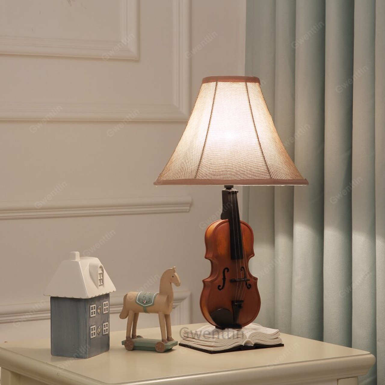 Resin Violin Table Lamps Living Room Modern Desk Lamp Children\'s Room  Bedroom Bedside Lamp Led Stand Light Fixtures Home Deco
