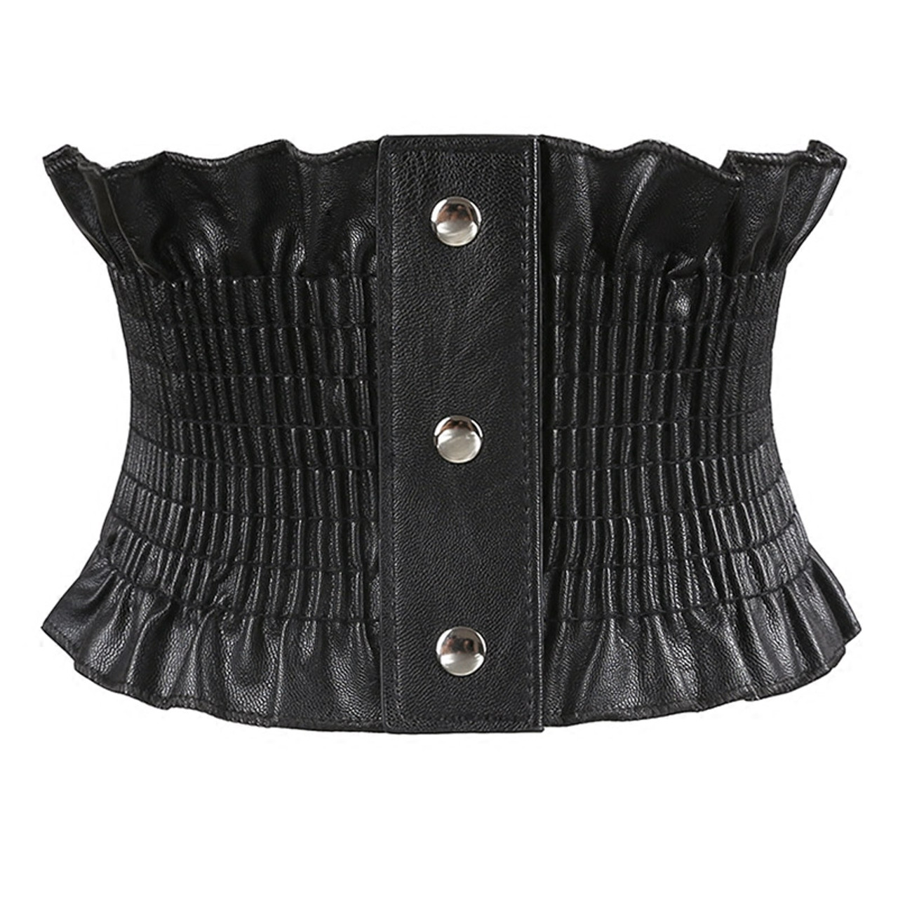 Fashion 3 Inch Wide Buckle Stretch Elastic Corset Waist Belt Black Party Show