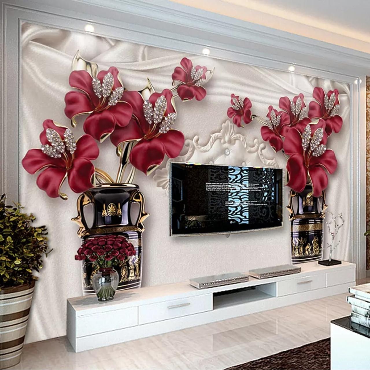 Custom Photo Wallpaper 3d European Style Jewelry Flower Living