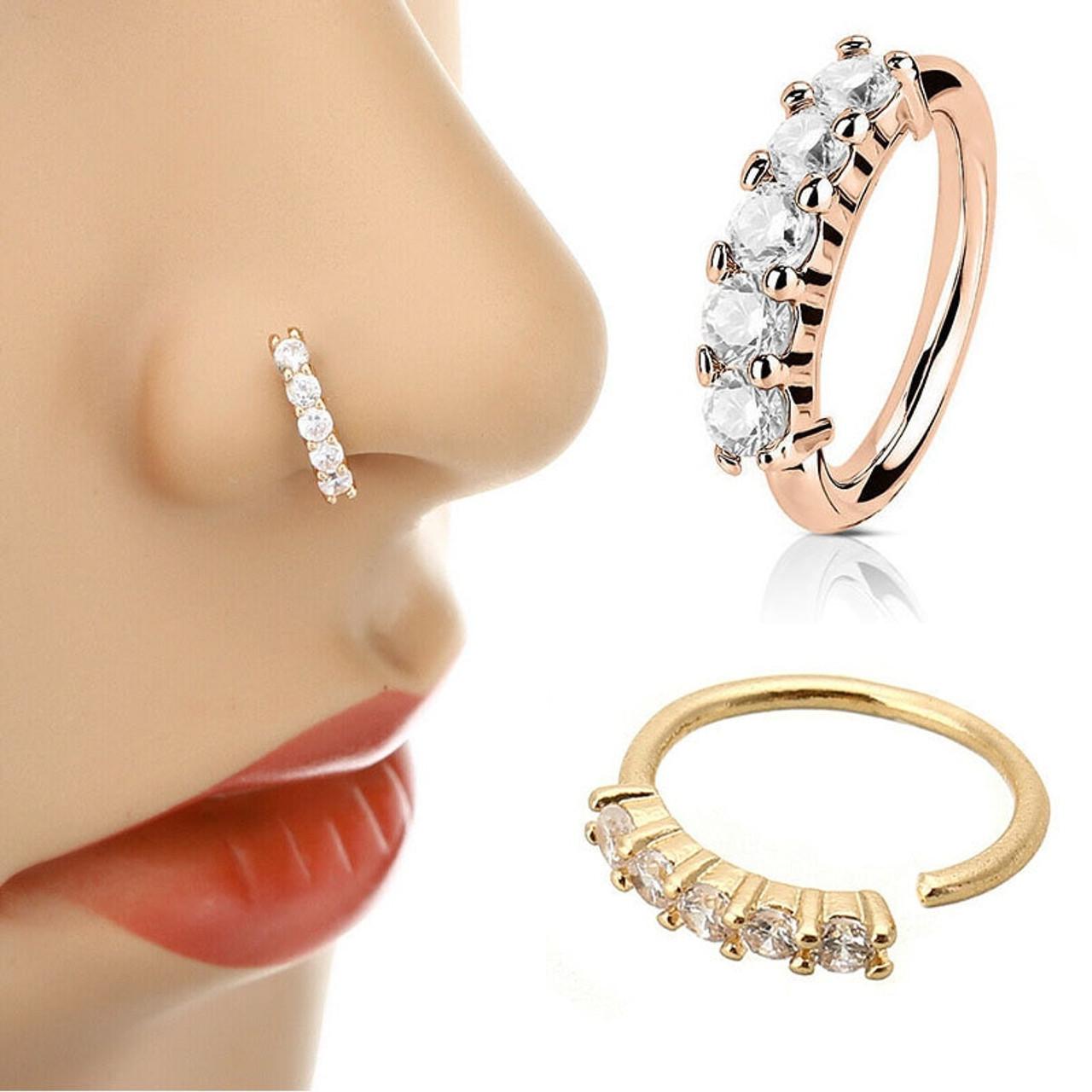 1 Pcs Fake Piercing Nose Ring Ear Rings Expander Hoop Rose Gold