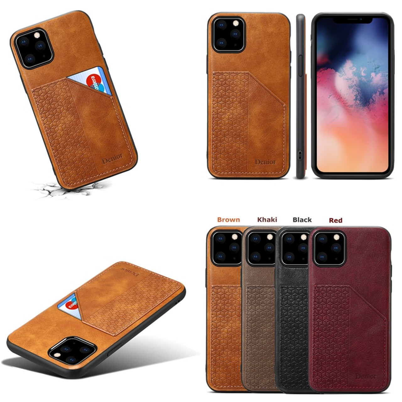 iPhone 11 Flip Case Cover for Leather Wallet Cover Card Holders Luxury Business Kickstand Flip Cover