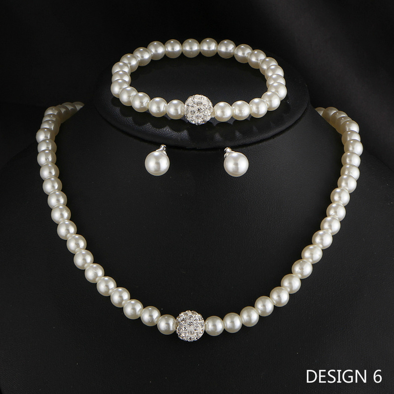 Elegant Crystal Pearl Necklace Earrings Set Women Bridal Wedding Jewellery Gifts