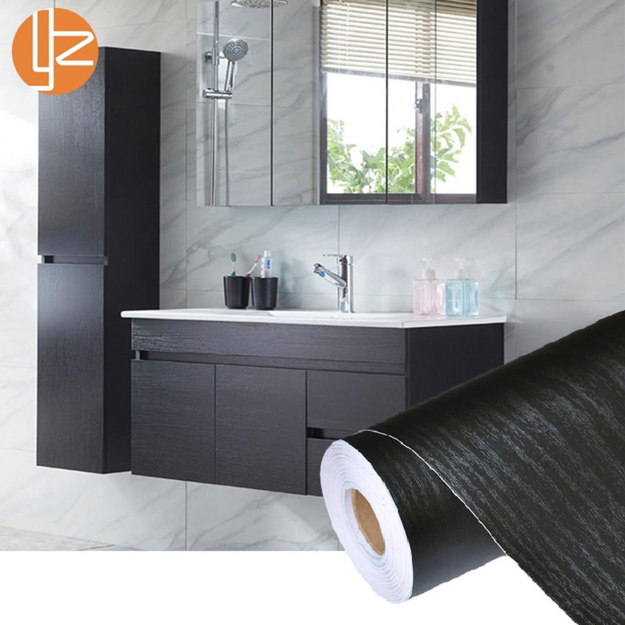 Vinyl Black Wood Grain Wallpaper Self Adhesive Wall Paper Furniture Stickers