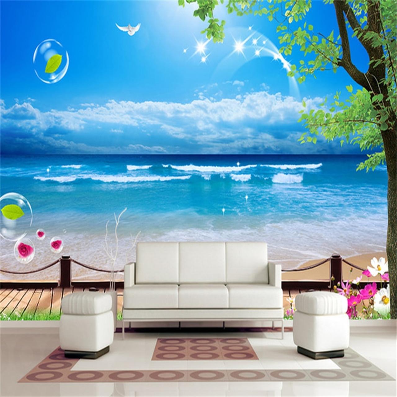 Beibehang Mediterranean Tv Background Custom Papel De Parede 3d
