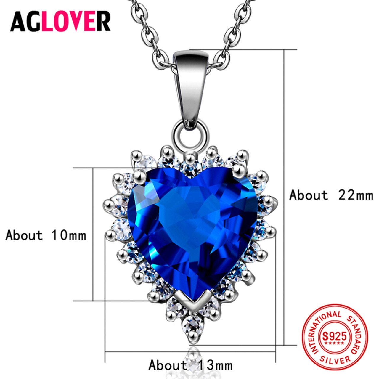 Ocean Heart 925 Crystal Sapphire Set Jewellery & Watches Fashion Jewellery