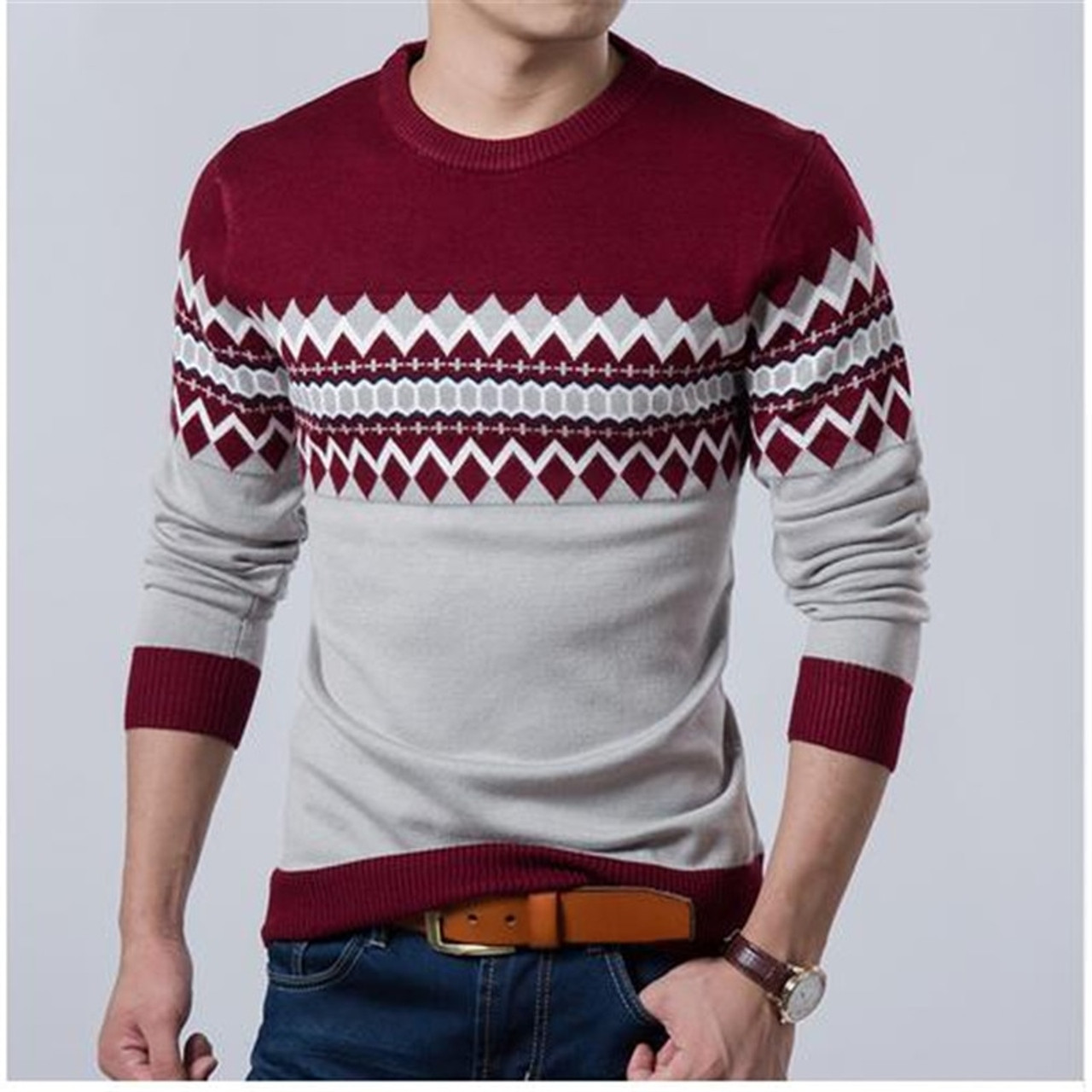 2019 New Autumn Fashion Brand Casual Sweater O-Neck Slim Fit ...