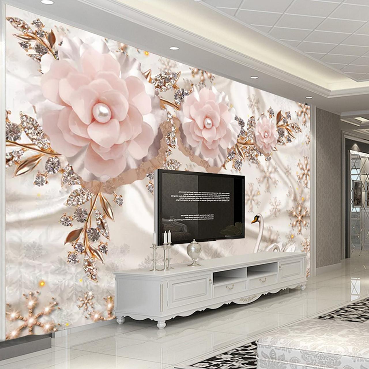 Custom Photo Wallpaper 3D Luxury European Style Swan Jewelry Flowers Living  Room TV Background Wall Decor Mural Papel De Parede