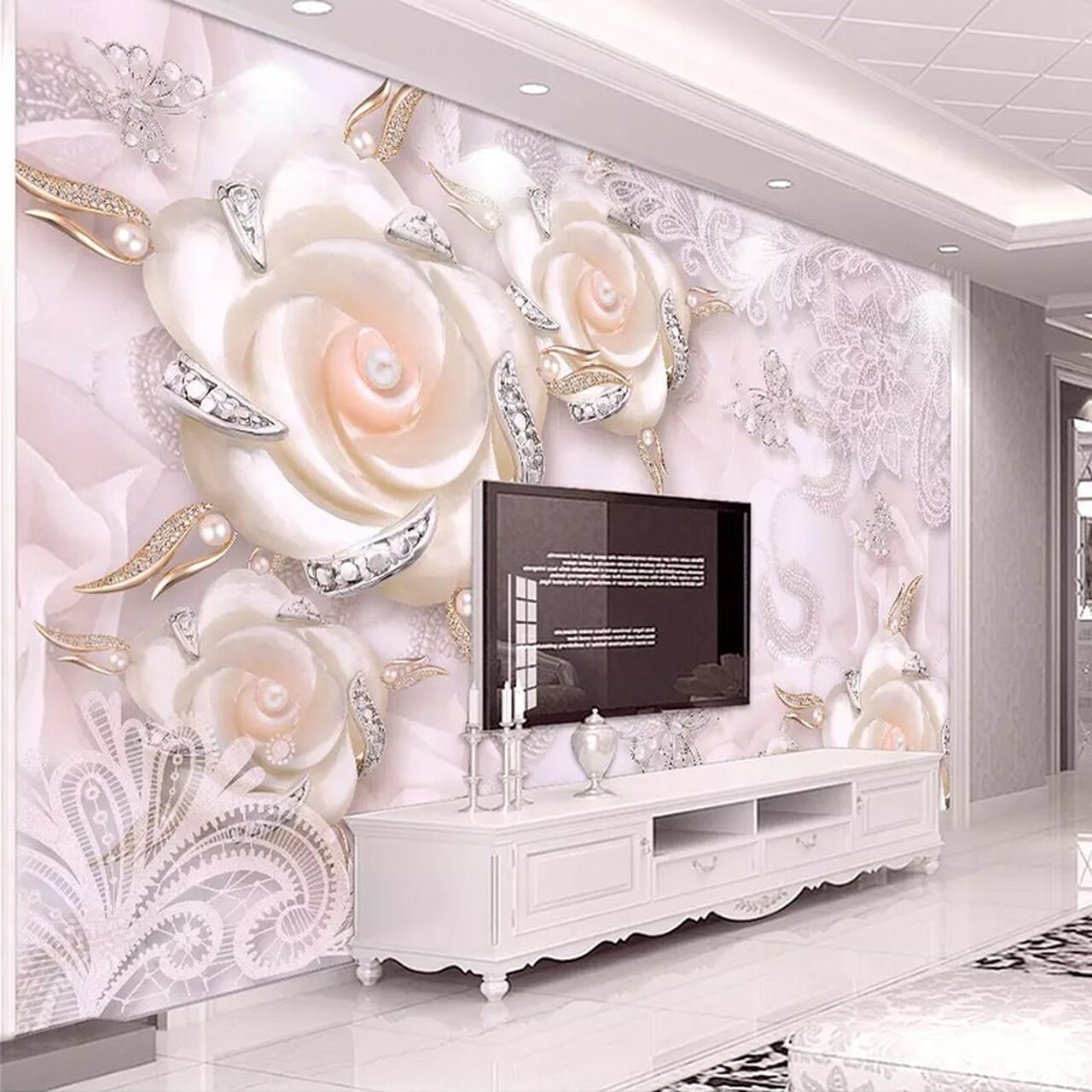 Custom Photo Wallpaper For Walls 3d Pink Flower Jewelry Pearl Wall Mural Living Room Bedroom Tv Backdrop Wall Papers Home Decor Onshopdeals Com