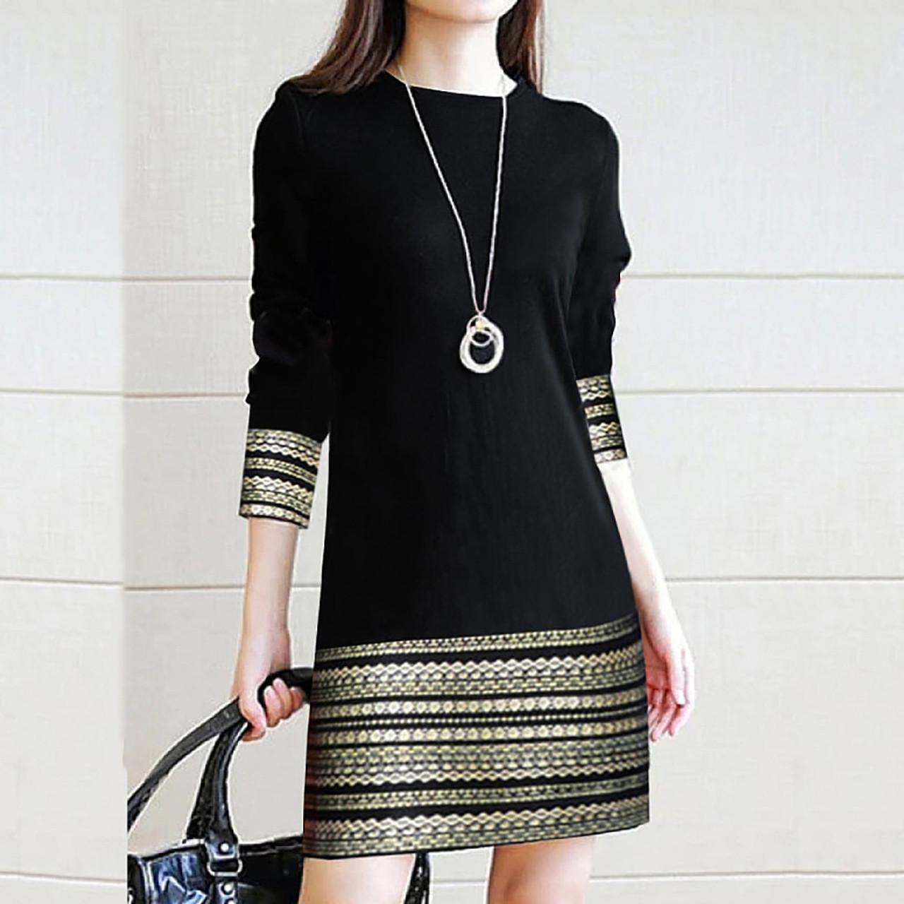 Women Winter Long Sleeve Dress Vintage