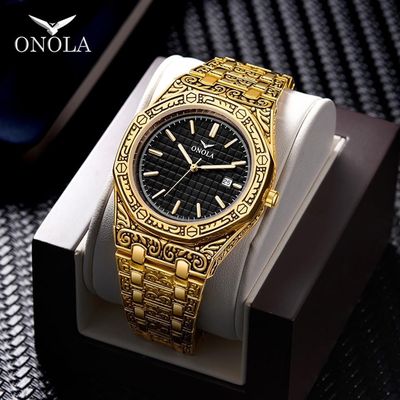 ONOLA vintage carved watch man waterproof Original steel band ...