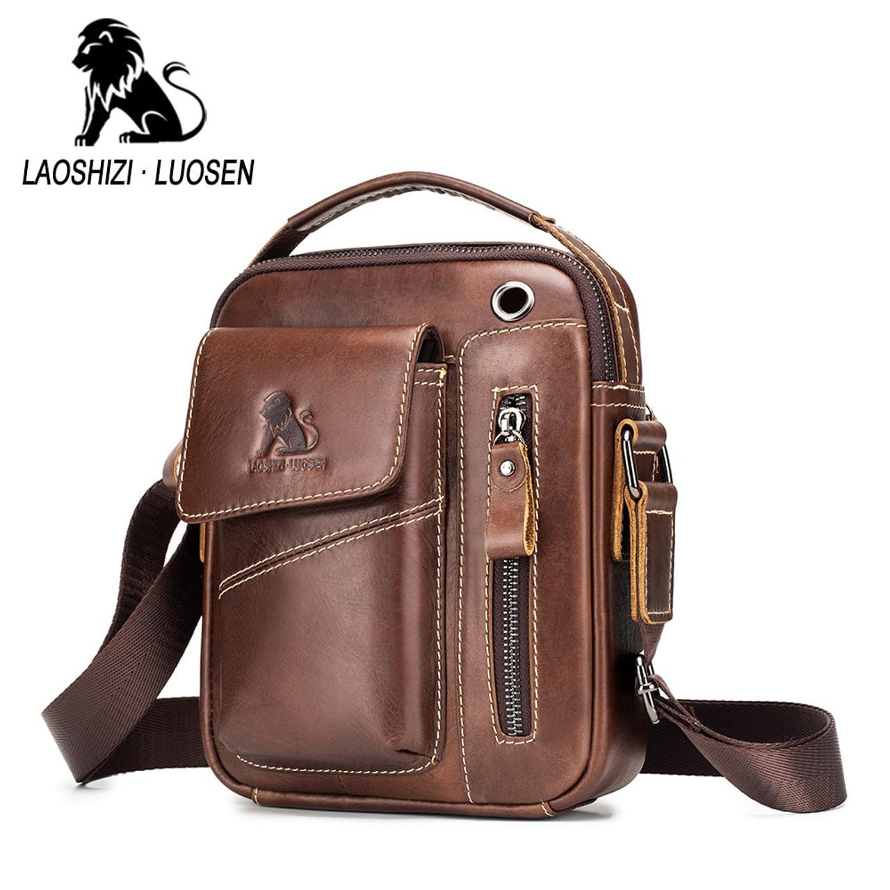 Leather Men Crossbody Shoulder Bag Small Messenger Male Tote Man Handbag Casual