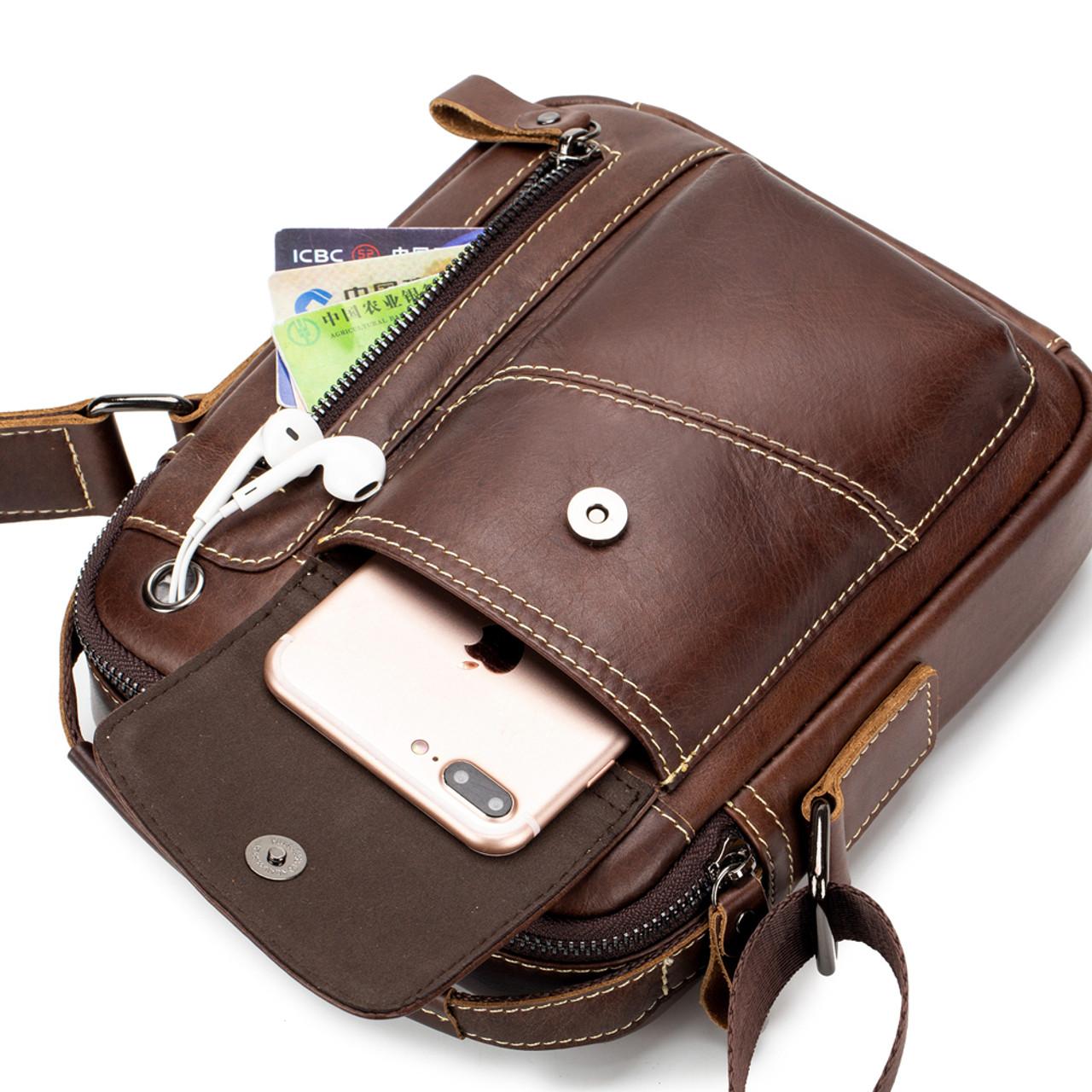 Genuine real Leather Shoulder Satchel camera Bag Messenger vintage mans tote
