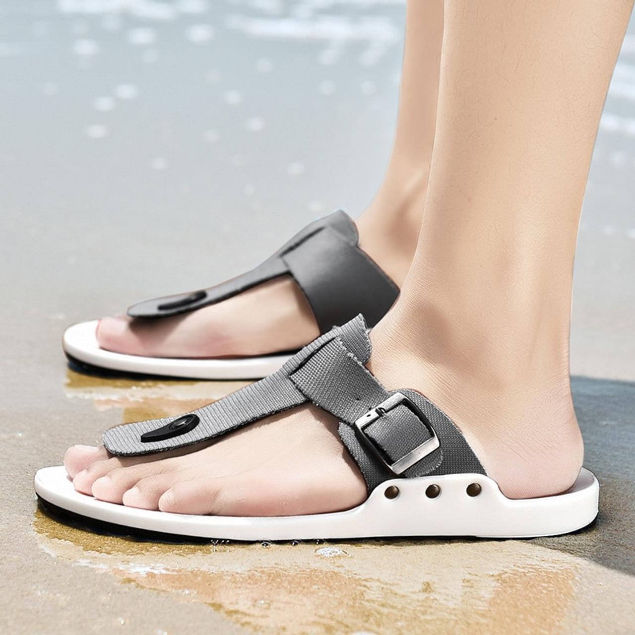 new specials online for sale superior quality 2018 Canvas Sandals Men Black Blue Grey Flip Flops Casual Flat ...
