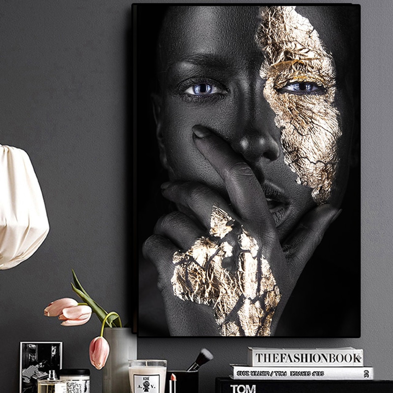 Decor African Picture Print Painting Black Gold Woman Poster Canvas Wall Art
