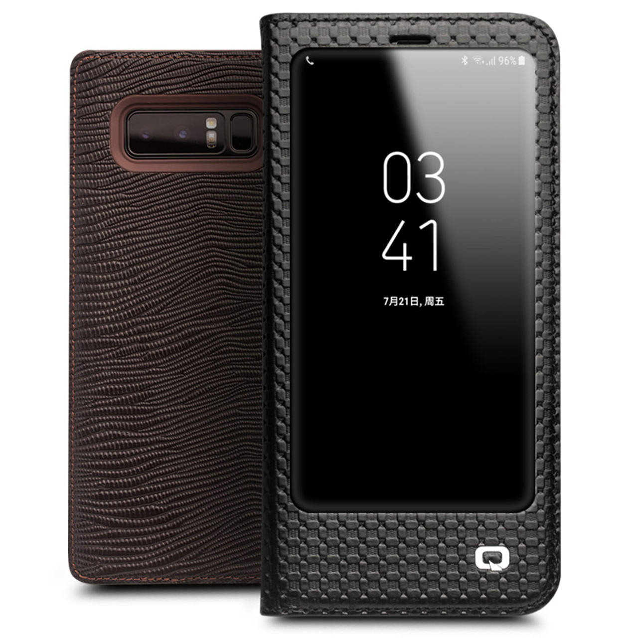 low priced f5fd1 b27c4 QIALINO for Samsung Note 8 Cases Smart View Flip Genuine Leather Window  Cover for Samsung Note 8 Case Sleep Wake Up Function